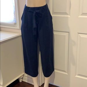 Zara Navy loose design pants trousers wide leg M